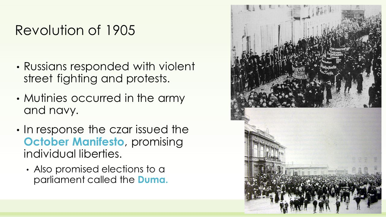 Revolution of 1905 Russians responded with violent street fighting and protests.