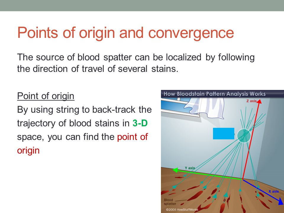 Points of origin and convergence The source of blood spatter can be localized by following the direction of travel of several stains. Point of origin