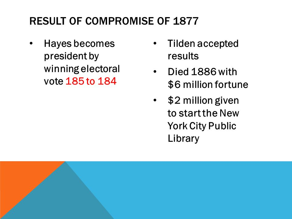 Hayes becomes president by winning electoral vote 185 to 184 Tilden accepted results Died 1886 with $6 million fortune $2 million given to start the N