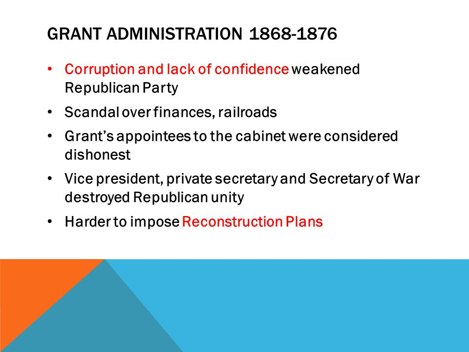 GRANT ADMINISTRATION 1868-1876 Corruption and lack of confidence weakened Republican Party Scandal over finances, railroads Grant's appointees to the