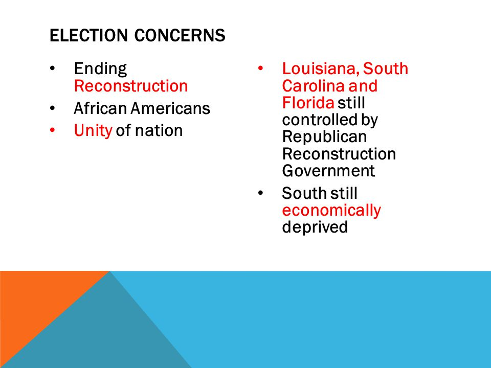 Ending Reconstruction African Americans Unity of nation Louisiana, South Carolina and Florida still controlled by Republican Reconstruction Government