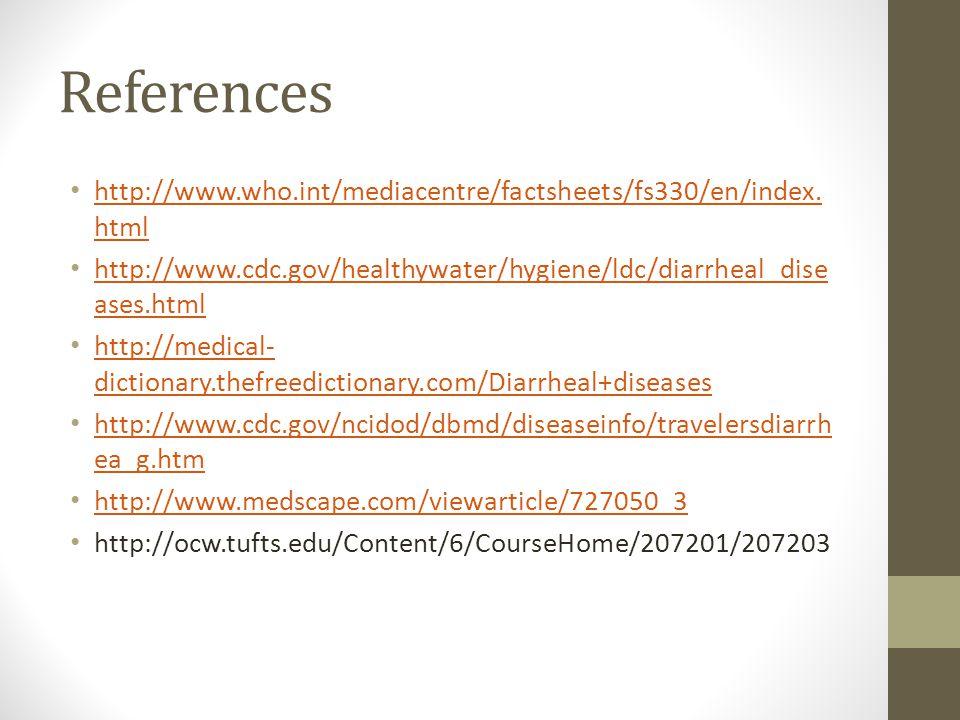 References http://www.who.int/mediacentre/factsheets/fs330/en/index.