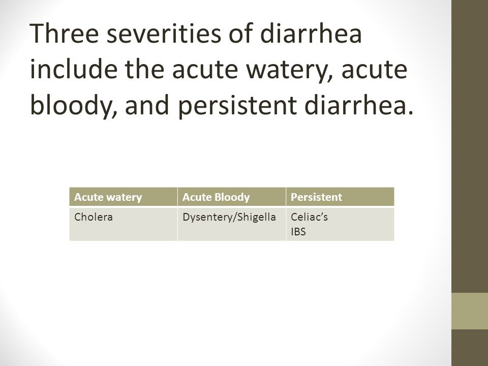 Three severities of diarrhea include the acute watery, acute bloody, and persistent diarrhea.