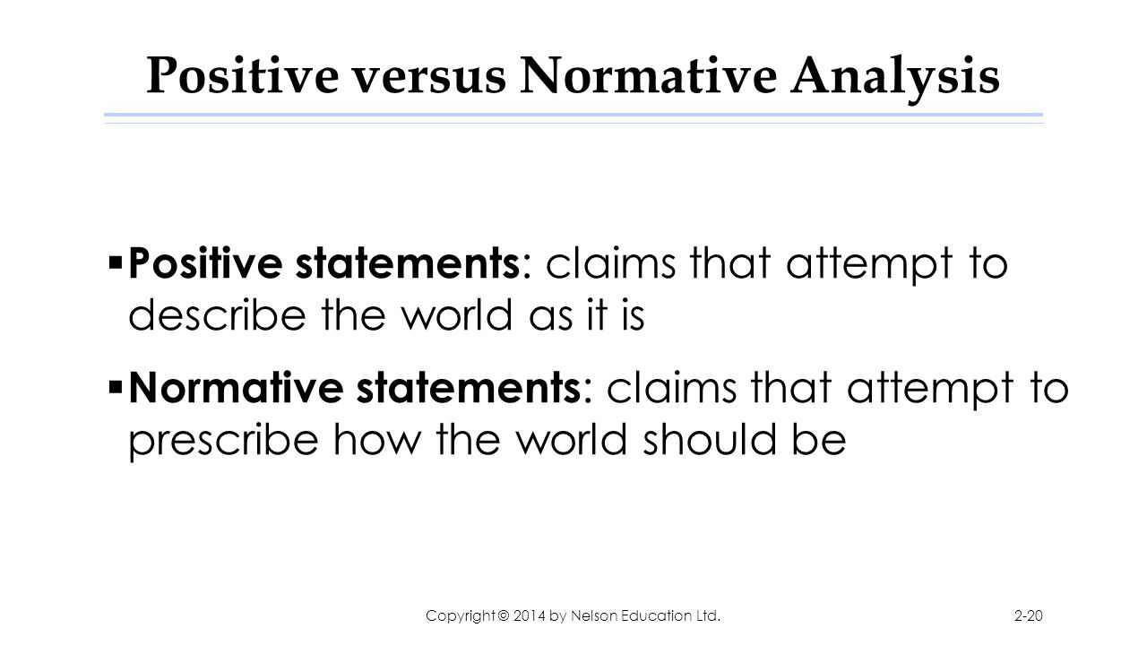 Positive versus Normative Analysis  Positive statements : claims that attempt to describe the world as it is  Normative statements : claims that att