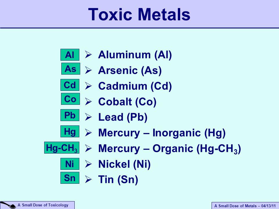 A Small Dose of Metals – 04/13/11 A Small Dose of Toxicology  Aluminum (Al)  Arsenic (As)  Cadmium (Cd)  Cobalt (Co)  Lead (Pb)  Mercury – Inorganic (Hg)  Mercury – Organic (Hg-CH 3 )  Nickel (Ni)  Tin (Sn) Toxic Metals Pb Co Al As Cd Hg Hg-CH 3 Ni Sn