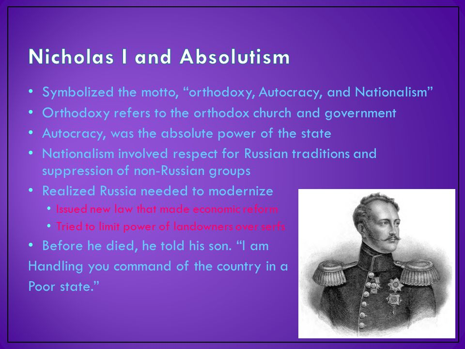 """Symbolized the motto, """"orthodoxy, Autocracy, and Nationalism"""" Orthodoxy refers to the orthodox church and government Autocracy, was the absolute power"""