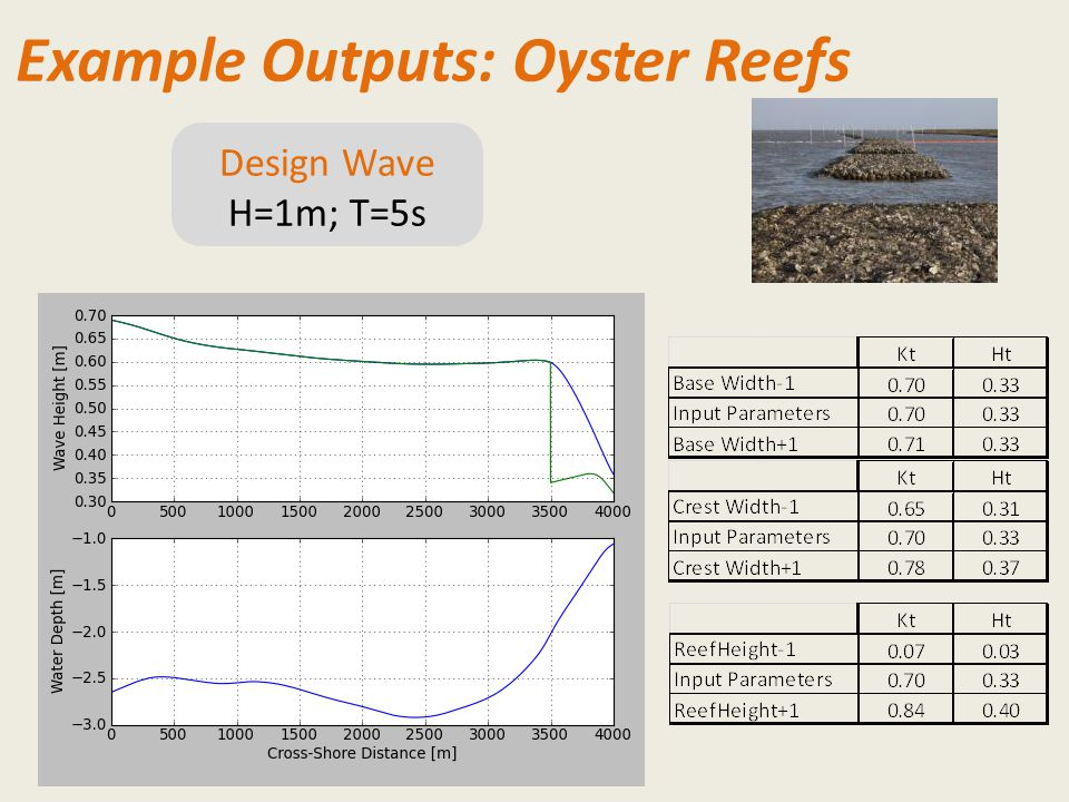 Design Wave H=1m; T=5s Example Outputs: Oyster Reefs