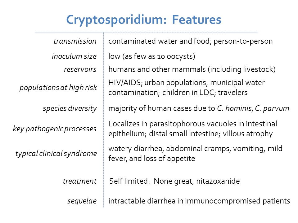 Cryptosporidium: Features transmissioncontaminated water and food; person-to-person inoculum sizelow (as few as 10 oocysts) species diversitymajority