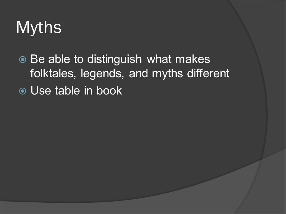 Myths  Be able to distinguish what makes folktales, legends, and myths different  Use table in book