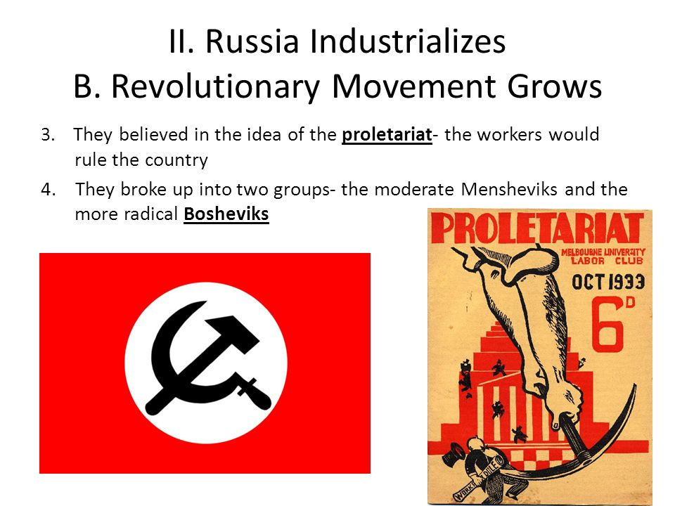 II.Russia Industrializes B. Revolutionary Movement Grows 3.
