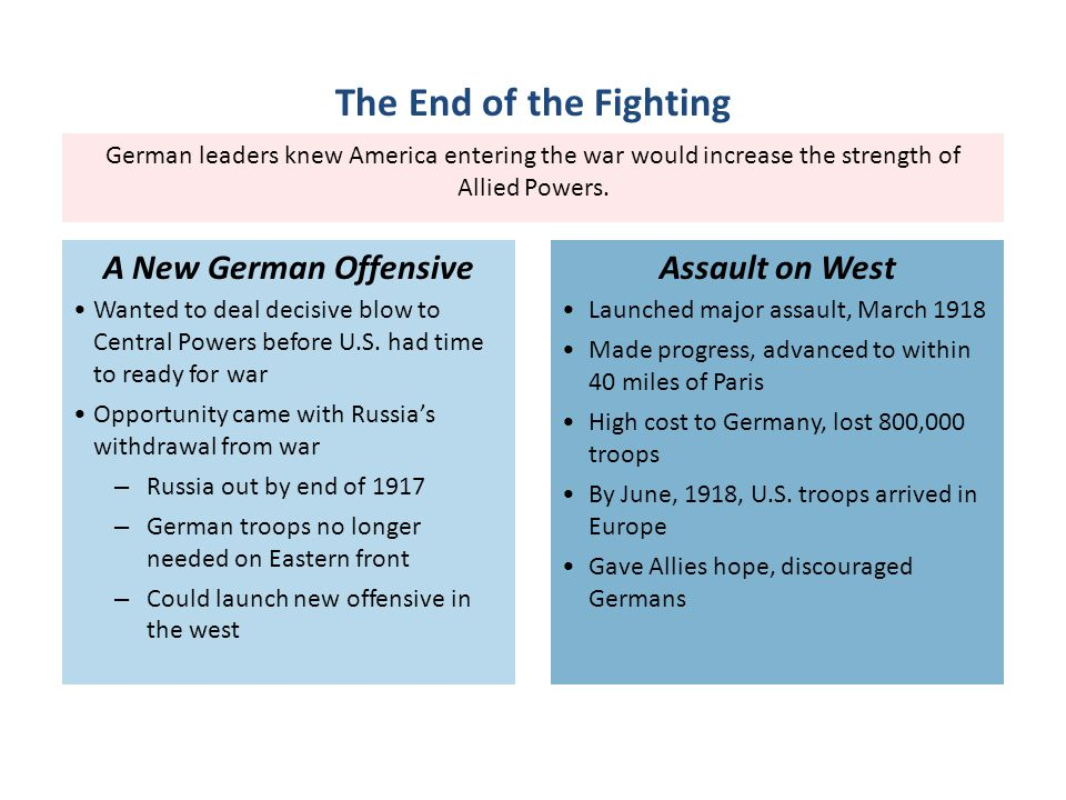 German leaders knew America entering the war would increase the strength of Allied Powers.
