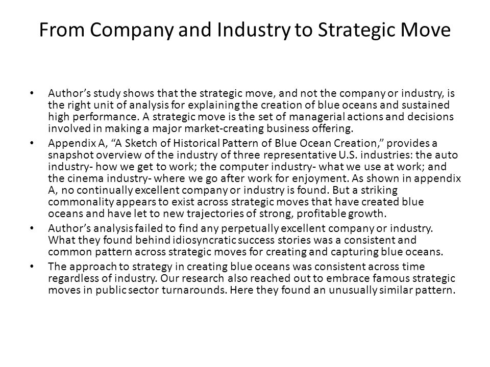 From Company and Industry to Strategic Move Author's study shows that the strategic move, and not the company or industry, is the right unit of analysis for explaining the creation of blue oceans and sustained high performance.