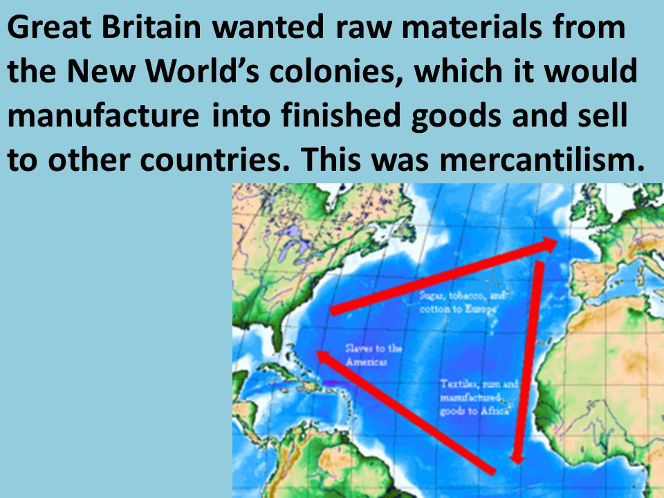 Great Britain wanted raw materials from the New World's colonies, which it would manufacture into finished goods and sell to other countries. This was