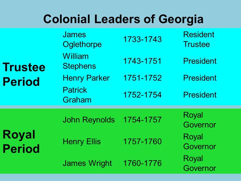 Colonial Leaders of Georgia Trustee Period James Oglethorpe 1733-1743 Resident Trustee William Stephens 1743-1751President Henry Parker1751-1752Presid