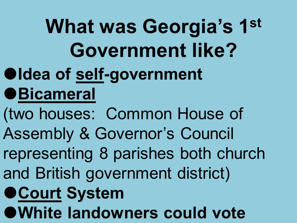 What was Georgia's 1 st Government like?  Idea of self-government  Bicameral (two houses: Common House of Assembly & Governor's Council representing