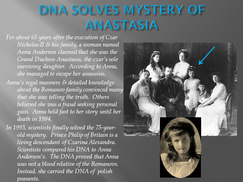 For about 65 years after the execution of Czar Nicholas II & his family, a woman named Anna Anderson claimed that she was the Grand Duchess Anastasia, the czar's sole surviving daughter.