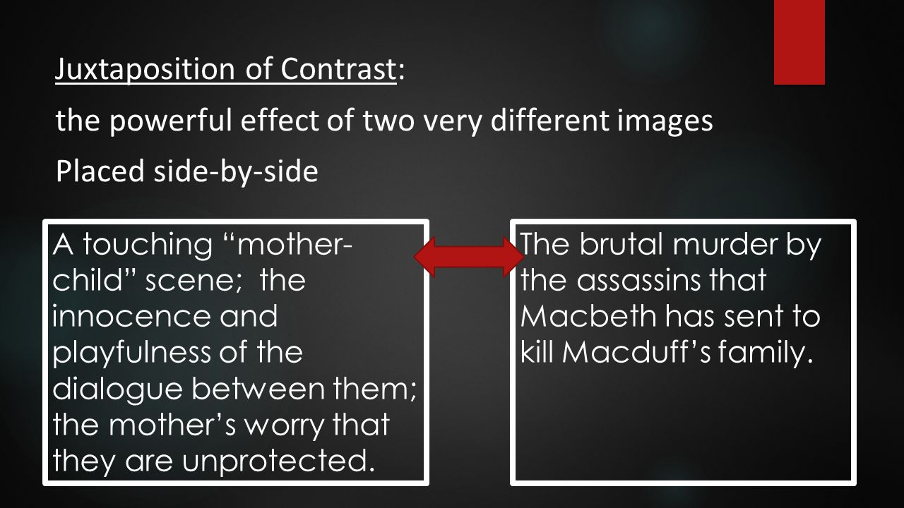 """Juxtaposition of Contrast: the powerful effect of two very different images Placed side-by-side A touching """"mother- child"""" scene; the innocence and pl"""