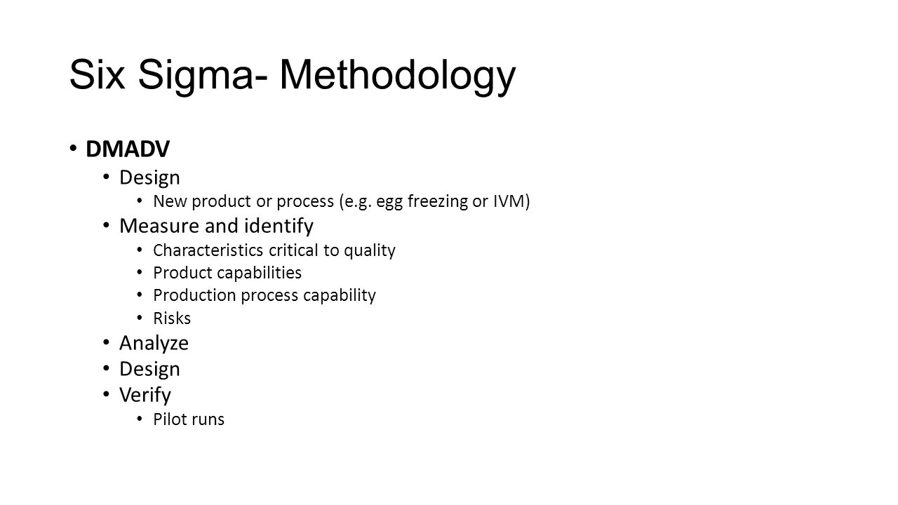 Six Sigma- Methodology DMADV Design New product or process (e.g.