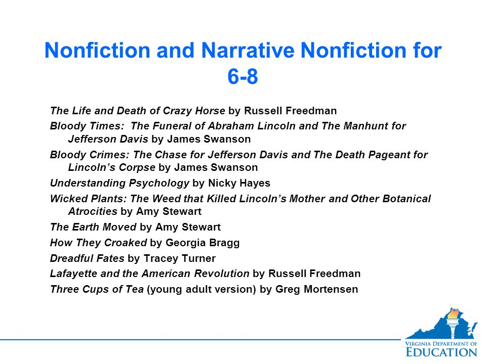 Nonfiction and Narrative Nonfiction for 6-8 The Life and Death of Crazy Horse by Russell Freedman Bloody Times: The Funeral of Abraham Lincoln and The Manhunt for Jefferson Davis by James Swanson Bloody Crimes: The Chase for Jefferson Davis and The Death Pageant for Lincoln's Corpse by James Swanson Understanding Psychology by Nicky Hayes Wicked Plants: The Weed that Killed Lincoln's Mother and Other Botanical Atrocities by Amy Stewart The Earth Moved by Amy Stewart How They Croaked by Georgia Bragg Dreadful Fates by Tracey Turner Lafayette and the American Revolution by Russell Freedman Three Cups of Tea (young adult version) by Greg Mortensen The Life and Death of Crazy Horse by Russell Freedman Bloody Times: The Funeral of Abraham Lincoln and The Manhunt for Jefferson Davis by James Swanson Bloody Crimes: The Chase for Jefferson Davis and The Death Pageant for Lincoln's Corpse by James Swanson Understanding Psychology by Nicky Hayes Wicked Plants: The Weed that Killed Lincoln's Mother and Other Botanical Atrocities by Amy Stewart The Earth Moved by Amy Stewart How They Croaked by Georgia Bragg Dreadful Fates by Tracey Turner Lafayette and the American Revolution by Russell Freedman Three Cups of Tea (young adult version) by Greg Mortensen