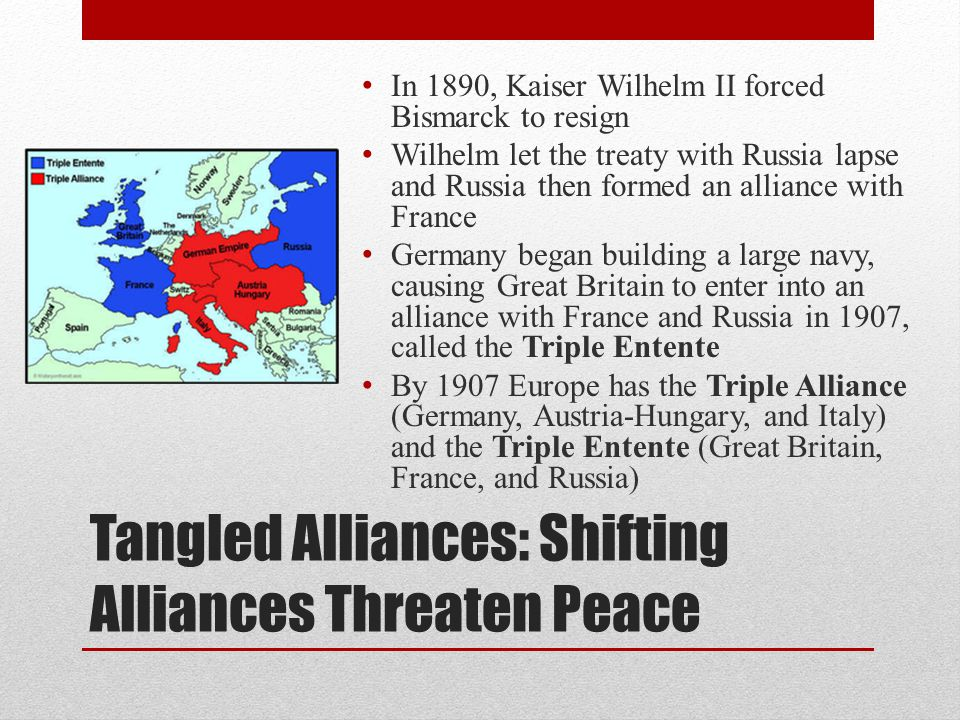 Tangled Alliances: Shifting Alliances Threaten Peace In 1890, Kaiser Wilhelm II forced Bismarck to resign Wilhelm let the treaty with Russia lapse and