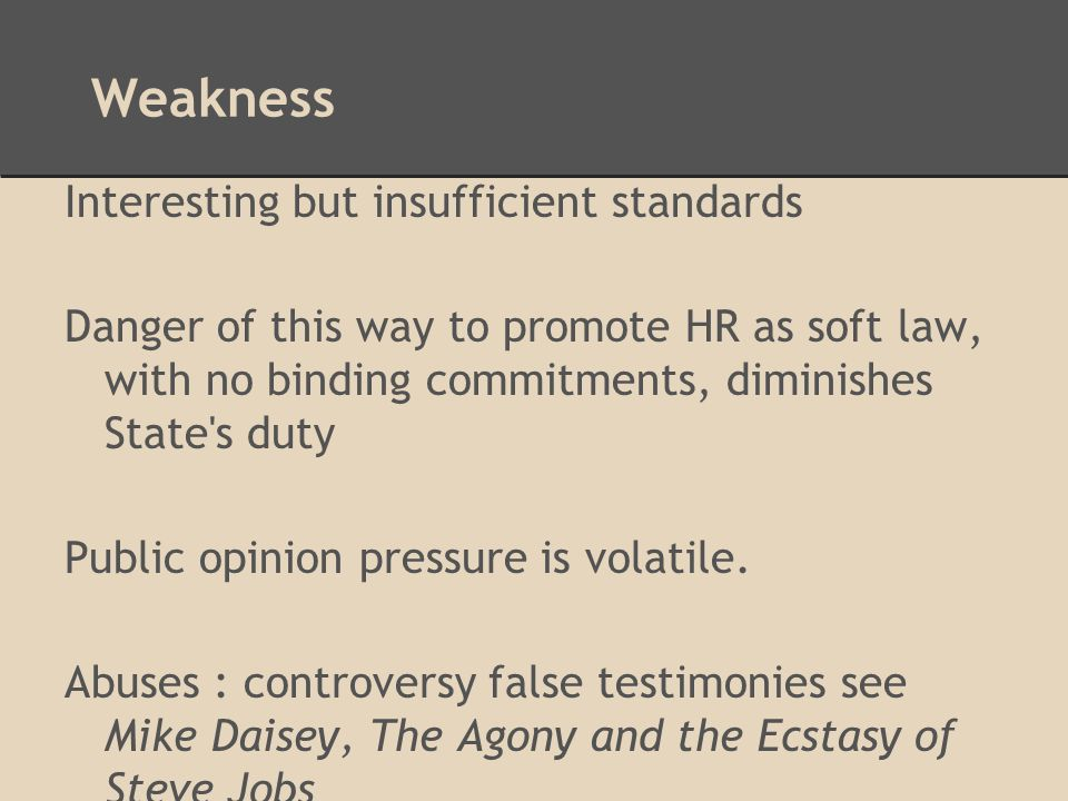 Weakness Interesting but insufficient standards Danger of this way to promote HR as soft law, with no binding commitments, diminishes State s duty Public opinion pressure is volatile.
