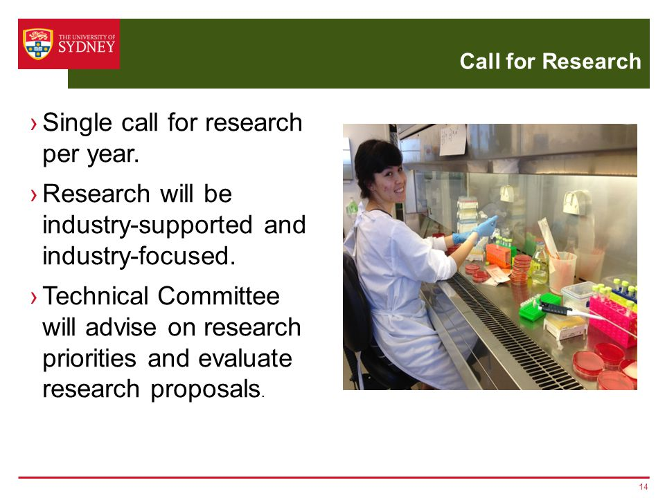 Call for Research 14 ›Single call for research per year.