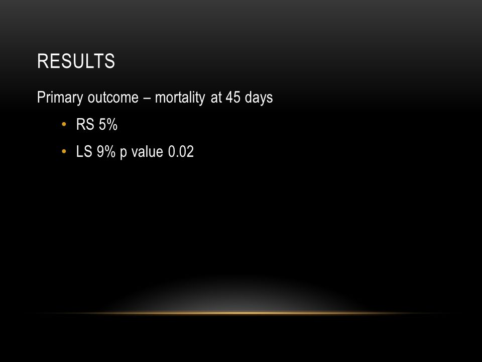 RESULTS Primary outcome – mortality at 45 days RS 5% LS 9% p value 0.02