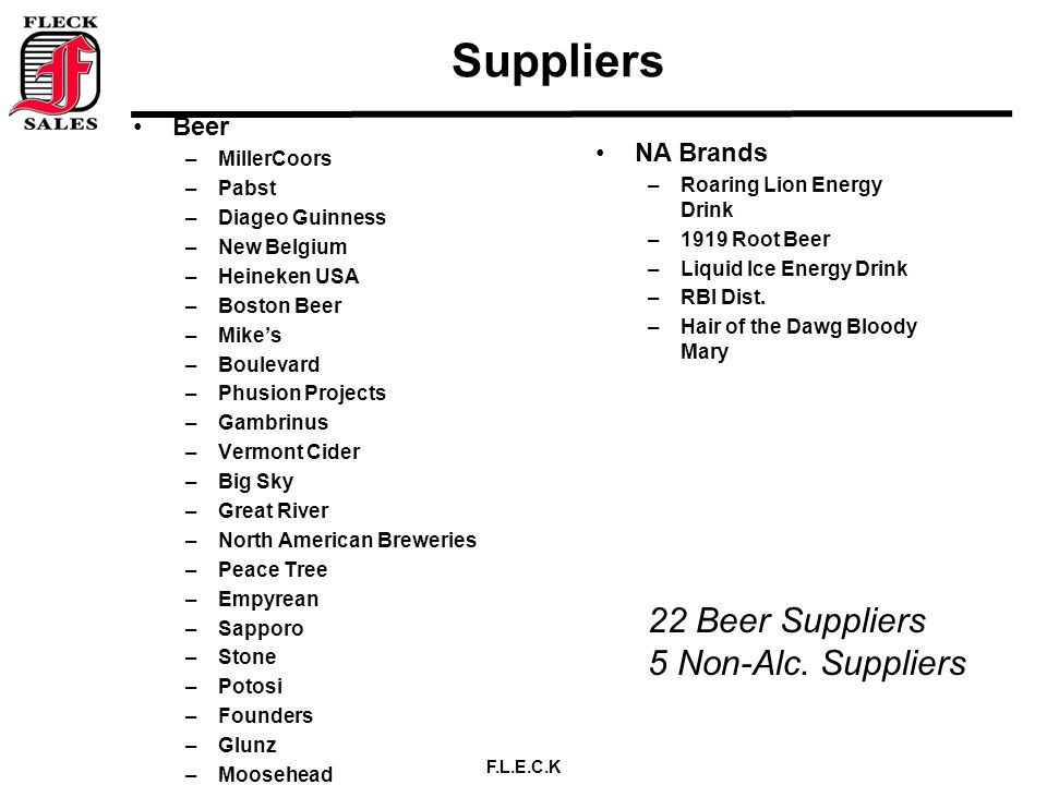 F.L.E.C.K Suppliers Beer –MillerCoors –Pabst –Diageo Guinness –New Belgium –Heineken USA –Boston Beer –Mike's –Boulevard –Phusion Projects –Gambrinus –Vermont Cider –Big Sky –Great River –North American Breweries –Peace Tree –Empyrean –Sapporo –Stone –Potosi –Founders –Glunz –Moosehead NA Brands –Roaring Lion Energy Drink –1919 Root Beer –Liquid Ice Energy Drink –RBI Dist.