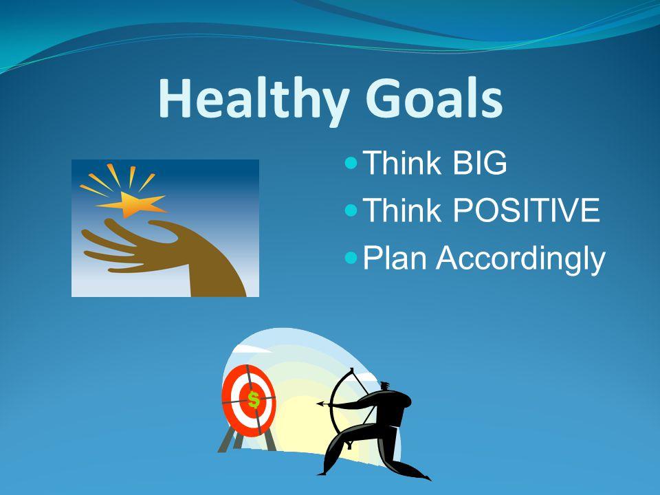 Healthy Goals Think BIG Think POSITIVE Plan Accordingly
