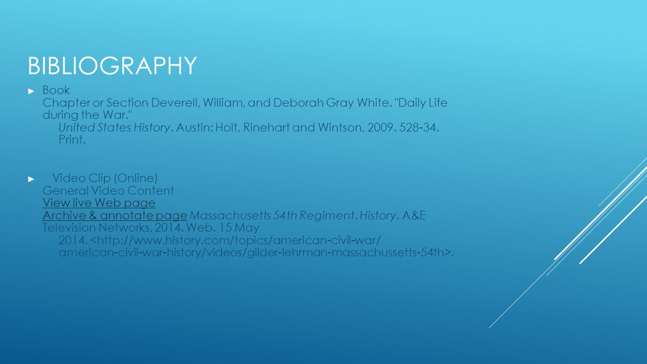 BIBLIOGRAPHY ► Book Chapter or Section Deverell, William, and Deborah Gray White.