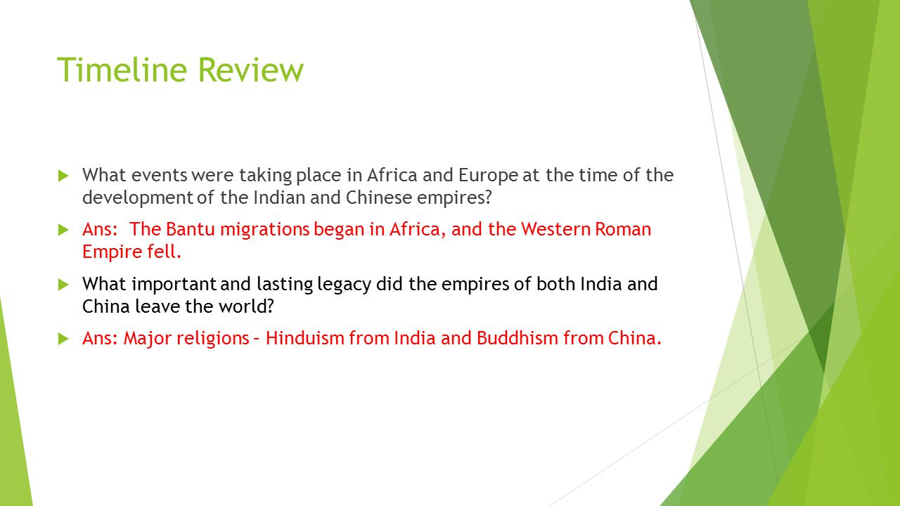 Timeline Review  What events were taking place in Africa and Europe at the time of the development of the Indian and Chinese empires?  Ans: The Bant