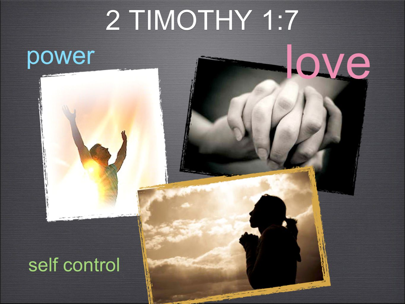 2 TIMOTHY 1:8 Therefore don't be ashamed of the testimony of our Lord, nor of me his prisoner; but endure hardship for the Good News according to the power of God who saved us and called us with a holy calling, not according to our works, but according to his own purpose and grace, which was given to us in Christ Jesus before times eternal,