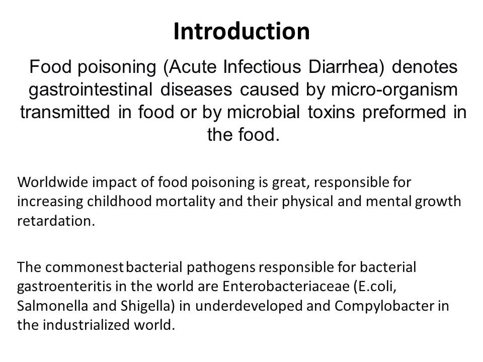 Epidemiology of Acute Infectious Diarrhea Etiologic Agent%ageComments Enterotoxigenic Escherichia coli 15–50Single most important agent, particularly in summertime in semitropical areas; percentage of cases ranges from 15% in Asia to 50% in Latin America Enteroaggregative E.
