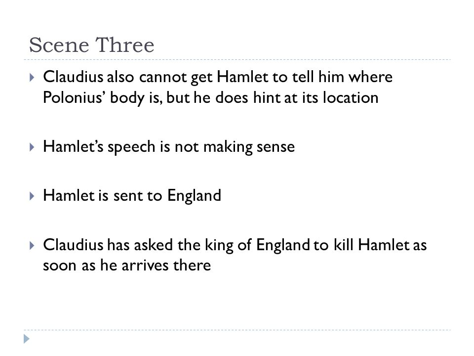 Scene Three  Claudius also cannot get Hamlet to tell him where Polonius' body is, but he does hint at its location  Hamlet's speech is not making sense  Hamlet is sent to England  Claudius has asked the king of England to kill Hamlet as soon as he arrives there
