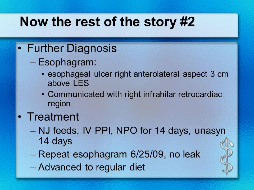 Esophagopericardial fistula Case review (n=49) AJR 141:171-173;July 1983 Etiology –#1 etiology was esophagitis/esophageal ulcer (75%).