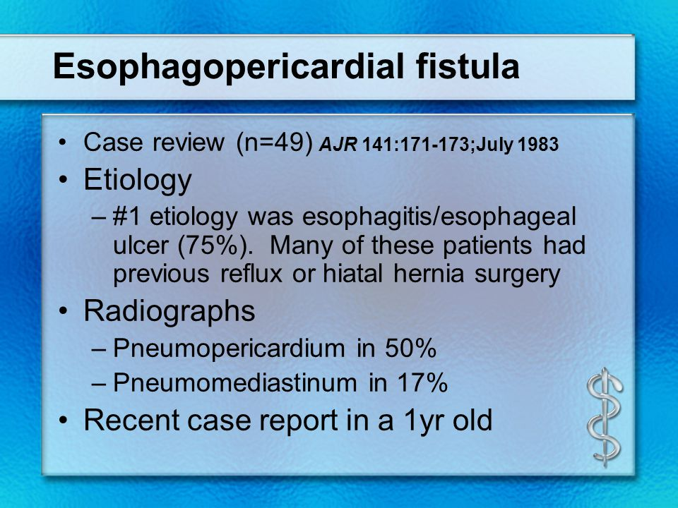 Esophagopericardial fistula Case review (n=49) AJR 141:171-173;July 1983 Etiology –#1 etiology was esophagitis/esophageal ulcer (75%).
