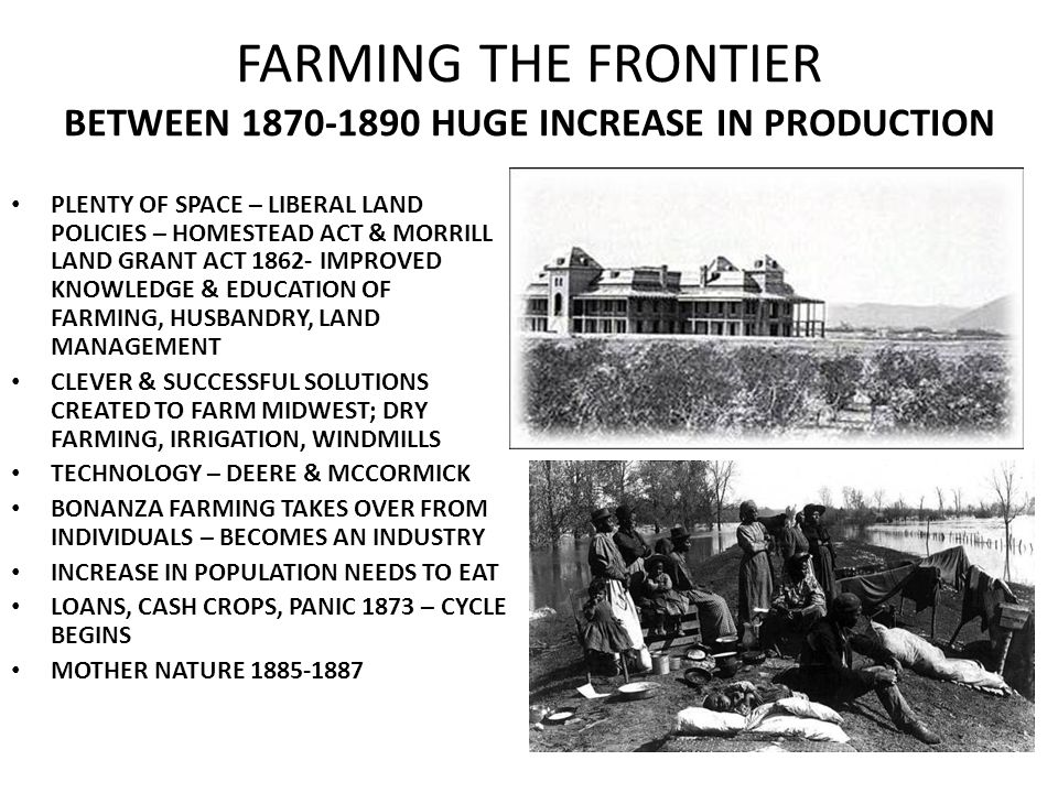 FARMING THE FRONTIER BETWEEN 1870-1890 HUGE INCREASE IN PRODUCTION PLENTY OF SPACE – LIBERAL LAND POLICIES – HOMESTEAD ACT & MORRILL LAND GRANT ACT 18