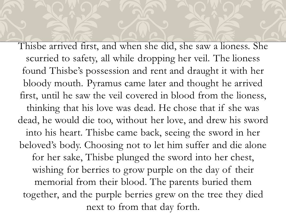Thisbe Talking Through The Cracked Wall Pyramus And Thisbe Dying By The Mulberry Tree