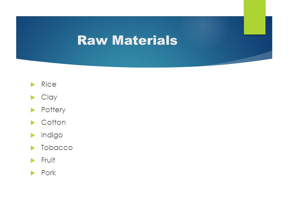 Raw Materials  Rice  Clay  Pottery  Cotton  Indigo  Tobacco  Fruit  Pork
