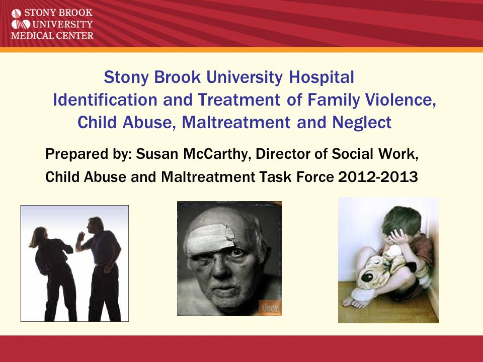 Stony Brook University Hospital Identification and Treatment of Family Violence, Child Abuse, Maltreatment and Neglect Prepared by: Susan McCarthy, Di