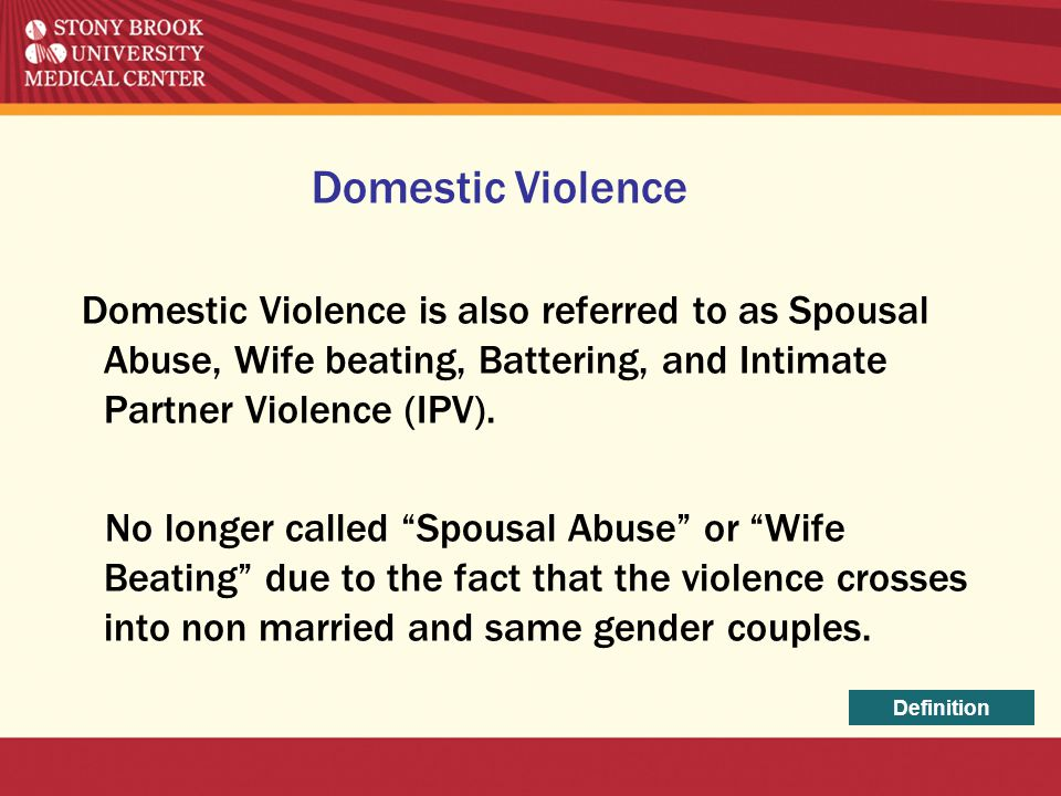 """Domestic Violence is also referred to as Spousal Abuse, Wife beating, Battering, and Intimate Partner Violence (IPV). No longer called """"Spousal Abuse"""""""
