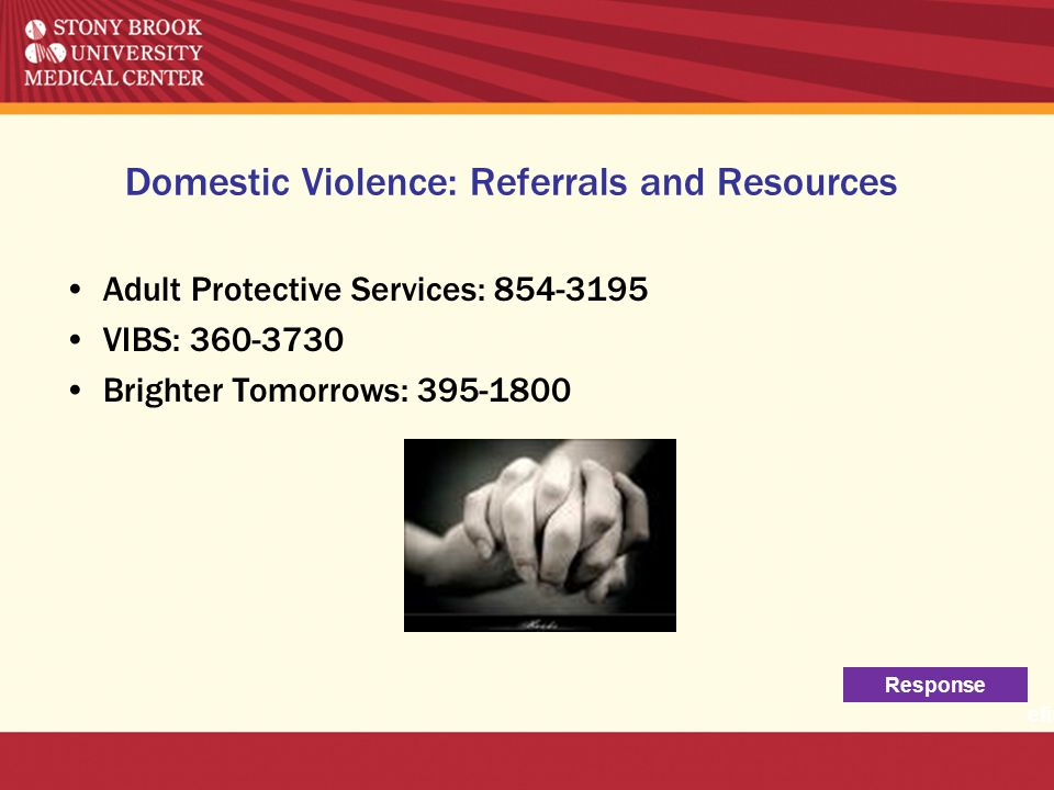 Domestic Violence: Referrals and Resources Adult Protective Services: 854-3195 VIBS: 360-3730 Brighter Tomorrows: 395-1800 Response efinit