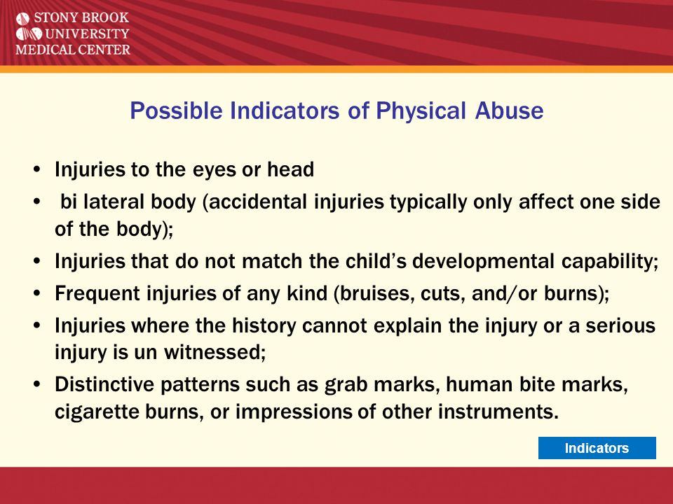 Indicators of Domestic Violence- Behavioral Signs Possible Behaviors of Victim: Quiet, non verbal; letting partner do all the talking Talk about partners temper or fear of retaliation Unwillingness to communicate Depression, anxiety, or suicidal ideation Change in sleep, eating patterns.