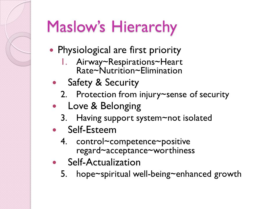 Maslow's Hierarchy Physiological are first priority 1.Airway~Respirations~Heart Rate~Nutrition~Elimination Safety & Security 2.