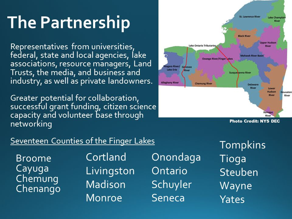 The Partnership Representatives from universities, federal, state and local agencies, lake associations, resource managers, Land Trusts, the media, and business and industry, as well as private landowners.