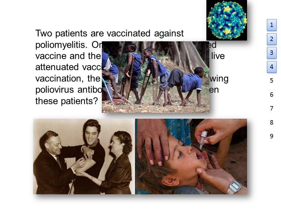 Two patients are vaccinated against poliomyelitis.