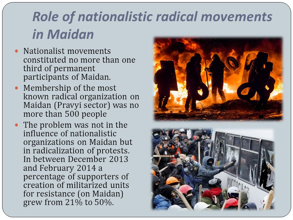 Role of nationalistic radical movements in Maidan Nationalist movements constituted no more than one third of permanent participants of Maidan.