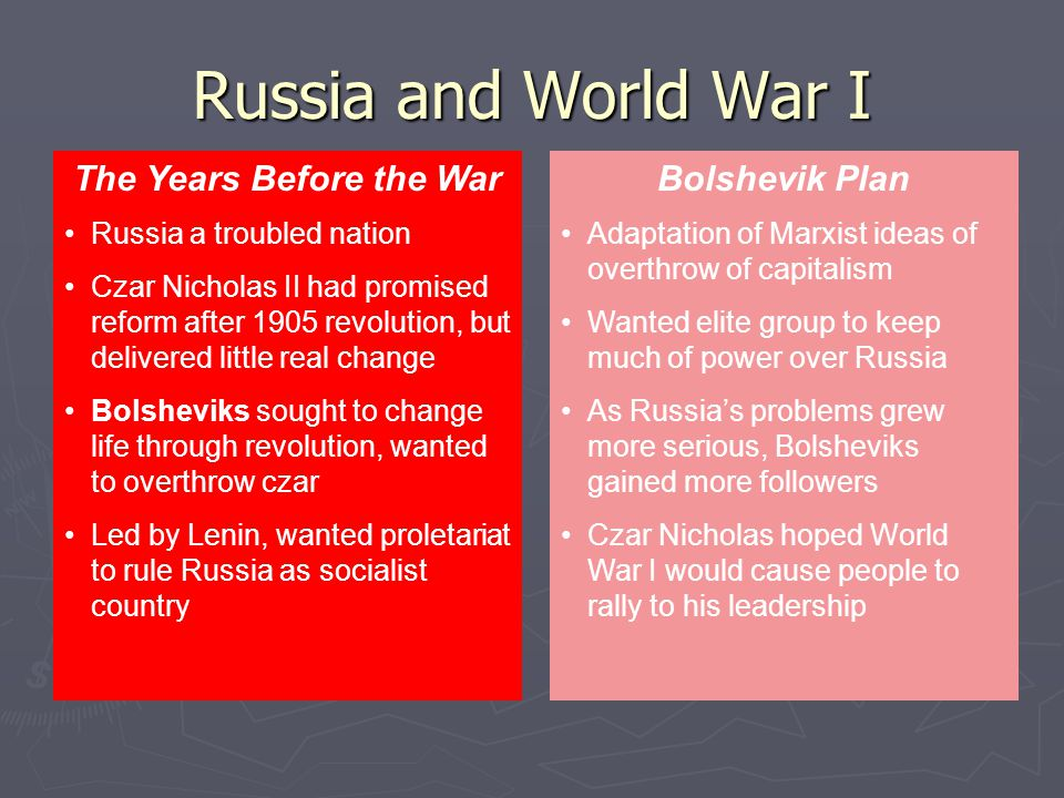 Adaptation of Marxist ideas of overthrow of capitalism Wanted elite group to keep much of power over Russia As Russia's problems grew more serious, Bolsheviks gained more followers Czar Nicholas hoped World War I would cause people to rally to his leadership Bolshevik Plan Russia a troubled nation Czar Nicholas II had promised reform after 1905 revolution, but delivered little real change Bolsheviks sought to change life through revolution, wanted to overthrow czar Led by Lenin, wanted proletariat to rule Russia as socialist country The Years Before the War Russia and World War I