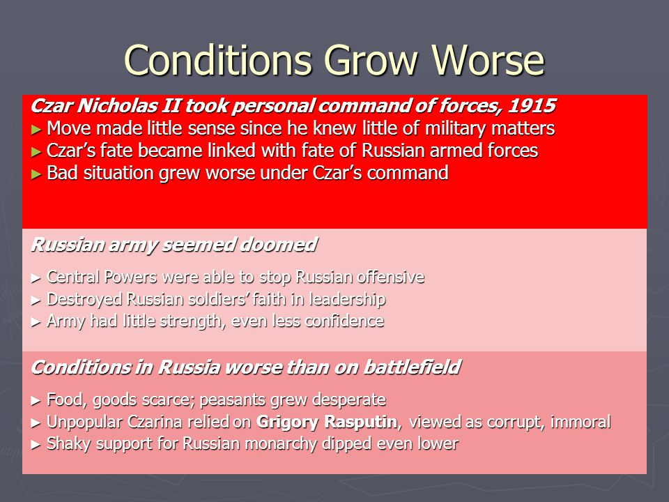 Conditions Grow Worse Czar Nicholas II took personal command of forces, 1915 ► Move made little sense since he knew little of military matters ► Czar's fate became linked with fate of Russian armed forces ► Bad situation grew worse under Czar's command Russian army seemed doomed ► Central Powers were able to stop Russian offensive ► Destroyed Russian soldiers' faith in leadership ► Army had little strength, even less confidence Conditions in Russia worse than on battlefield ► Food, goods scarce; peasants grew desperate ► Unpopular Czarina relied on Grigory Rasputin, viewed as corrupt, immoral ► Shaky support for Russian monarchy dipped even lower