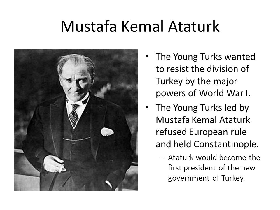 Mustafa Kemal Ataturk The Young Turks wanted to resist the division of Turkey by the major powers of World War I. The Young Turks led by Mustafa Kemal